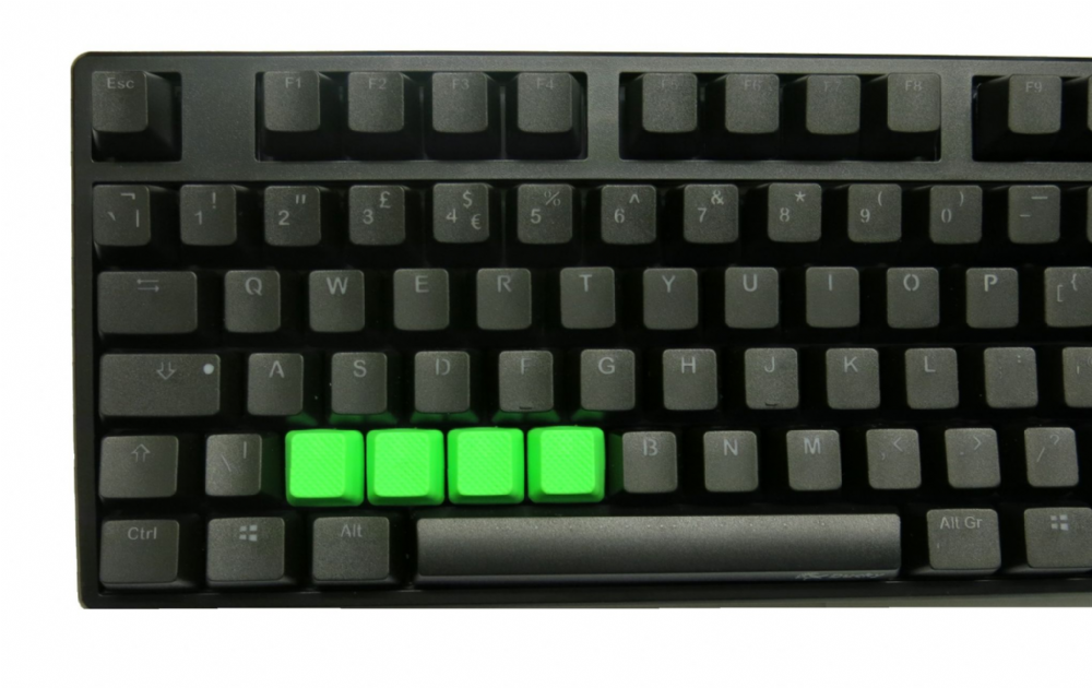 Tai-Hao TPR Rubber Backlit Double Shot Blank Keys x 4 Neon Green